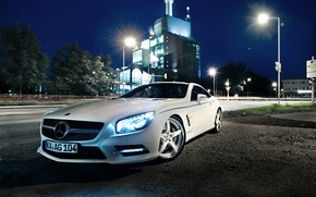 Picture Mercedes-Benz, Glow, Lights, Night, White, Tuning, 2012 Car, Xenon, Graf Weckerle, SL 500