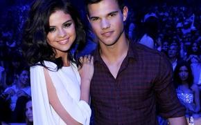 Picture girl, smile, guy, actors, Selena Gomez, Taylor Lautner, Selena Gomez