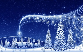 Picture night, holiday, new year, Christmas, houses, christmas, tree