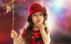 Picture flower, mood, rose, girl, child, bokeh, kiss