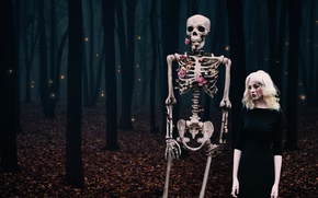 Picture forest, girl, the situation, skeleton