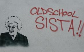 Wallpaper Granny, old school sista, graffiti