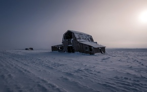 Picture field, snow, landscape, night, nature, house