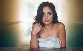 Picture look, girl, face, model, surprise, pool, dress, brunette, white, the beauty, blue-eyed, beauty, bokeh, Anastasia …
