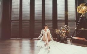 Wallpaper look, room, model, dress, legs, sitting, on the floor
