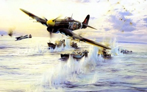 Picture sea, the explosion, attack, figure, ships, art, Taylor, the fire, plaque, fighter-bomber, Royal air force, ...