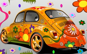Picture flowers, the world, glamour, VW 1303, Super Beetle