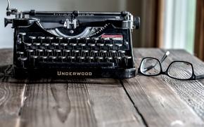 Picture glasses, underwood, typewriter