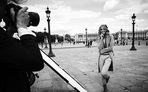 Picture blonde, lights, black and white, Russian model, Saint Petersburg, Sasha Pivovarova