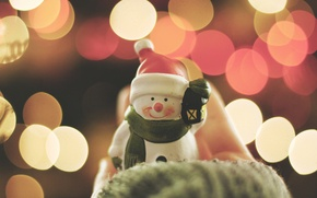 Picture lights, smile, new year, snowman, cap, bokeh, smiling