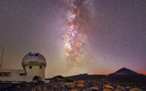 Picture stars, night, the milky way, Observatory, the Teide Observatory in Tenerife