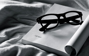 Wallpaper white, black, glasses, fabric, notebook, different