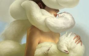 Picture girl, tenderness, art, fur, a lot, Masuike Up, ferrets