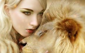 Picture cat, girl, predator, Leo, hugs, mane