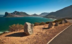 Picture road, sea, landscape, mountains