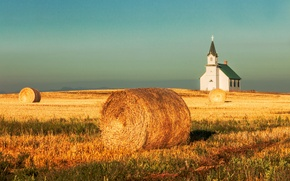 Wallpaper harvest, mountains, Church, field, the sky, hay