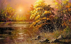 Picture autumn, the sun, landscape, sunset, river, stones, picture, the evening, painting, Khodukov, spatula