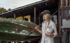 Picture look, girl, face, model, boat, fishing, portrait, hat, shirt, vintage, young, retro, beautiful, pigtail, fishing …