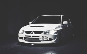 Wallpaper White, Mitsubishi, Lancer, Japan, Car, White, Shadow, Lancer, Mitsubishi, Evolution 9