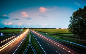 Picture road, autumn, lights, the evening, excerpt, Netherlands, September, autobahn, Frisian, Marssum, Jurjen Harmsma рhotography