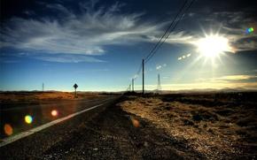 Wallpaper posts, road, Prairie, the sun