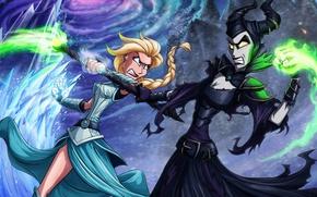 Picture Frozen, Disney, Elsa, Elsa, Maleficent, Maleficent, Snow Queen, Cold heart