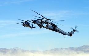 Wallpaper mountains, desert, helicopter, machine gun, rescuers, blades, THE MH-60K, black hawk
