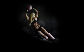 Picture blonde, pose, abs, fitness, training ball, exercise