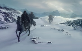 Picture winter, snow, mountains, birds, people, horses, horse, art, A Song of Ice and Fire, A …
