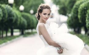Picture girl, sweetheart, model, dress, light, white, the beauty, beautiful, beauty, wedding, natural, Yana, Mike Shatikhin