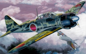 Picture war, art, airplanes, painting, aviation, ww2, dogfight, P-39 Airacobra, A6M3 Zero