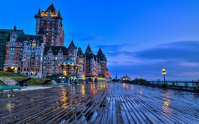 Picture the city, castle, the evening, Canada, benches, bridge, QC, Château Frontenac, Quebec, Chateau Frontenac
