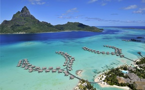 Wallpaper stay, relax, journey, French Polynesia, the island of Bora Bora, The Pacific ocean, bungalovy hotel ...