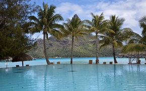 Picture clouds, palm trees, pool, the coast