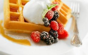 Picture raspberry, food, blueberries, cake, cream, dessert, food, BlackBerry, sweet, cream, dessert, blueberries, blackberries, raspberries, waffles