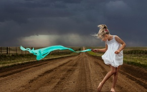 Picture road, clouds, storm, the wind, girl