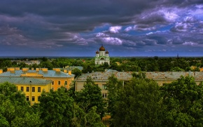 Picture clouds, trees, building, Saint Petersburg, panorama, Russia, Pushkin, The Cathedral of St. Catherine