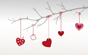 Wallpaper heart, apple, branch, love, Valentine's day, Valentine\'s Day