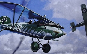 Picture aircraft, war, airplane, aviation, dogfight, german aircraft, ww1