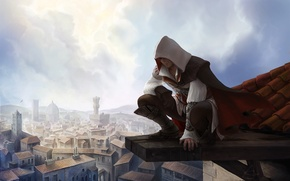 Picture roof, the city, height, Ezio, Assassin's Creed