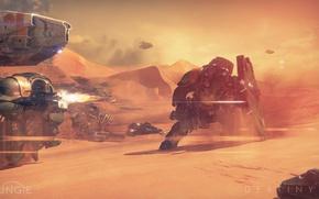 Picture sand, war, desert, soldiers, battle, shield, weapon, war, shootout, battle, Destiny