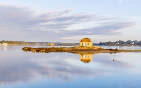 Picture house, river, France, island, Brittany, Ethel, Saint-Cado