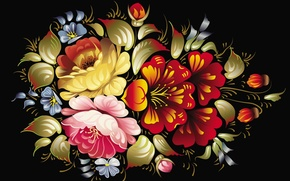 Picture flowers, the dark background, pattern, texture