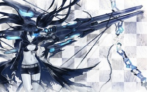 Picture girl, blue, weapons, sword, cell, chain, scar