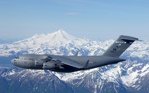 Picture the sky, flight, landscape, mountains, USA, BBC, C-17 Globemaster III, Air Force Base, Spirit of …