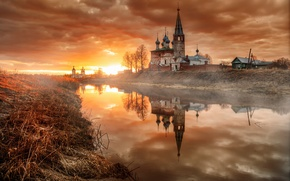 Picture dawn, village, morning, April, temple, Russia, Dunilovo