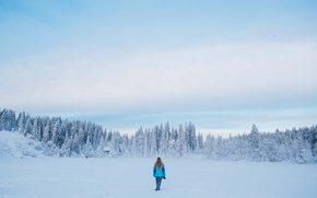 Picture girl, winter, lake, frozen