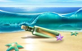 Picture sea, wave, beach, bottle, wave, starfish, starfish, bottle, the beach, the sea