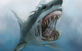 Picture monster, shark, art, mouth, fangs, under water, hunger