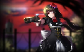 Picture girl, gun, weapons, blood, date a live, tokisaki kurumi